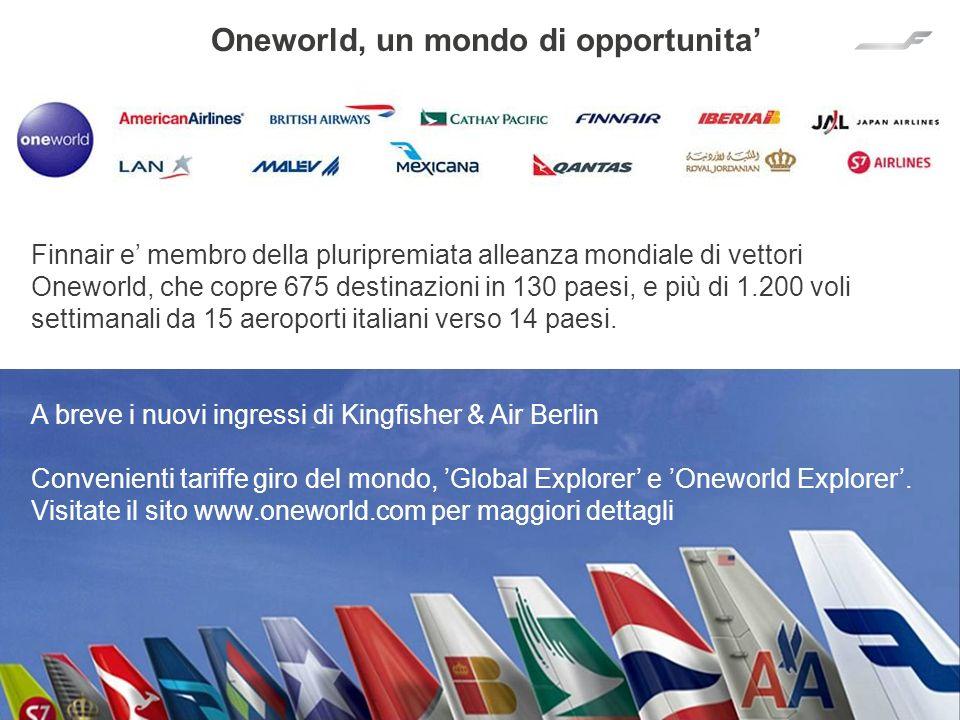 19 Finnair e membro della pluripremiata alleanza mondiale di vettori Oneworld, che copre 675 destinazioni in 130 paesi, e più di 1.200 voli settimanal