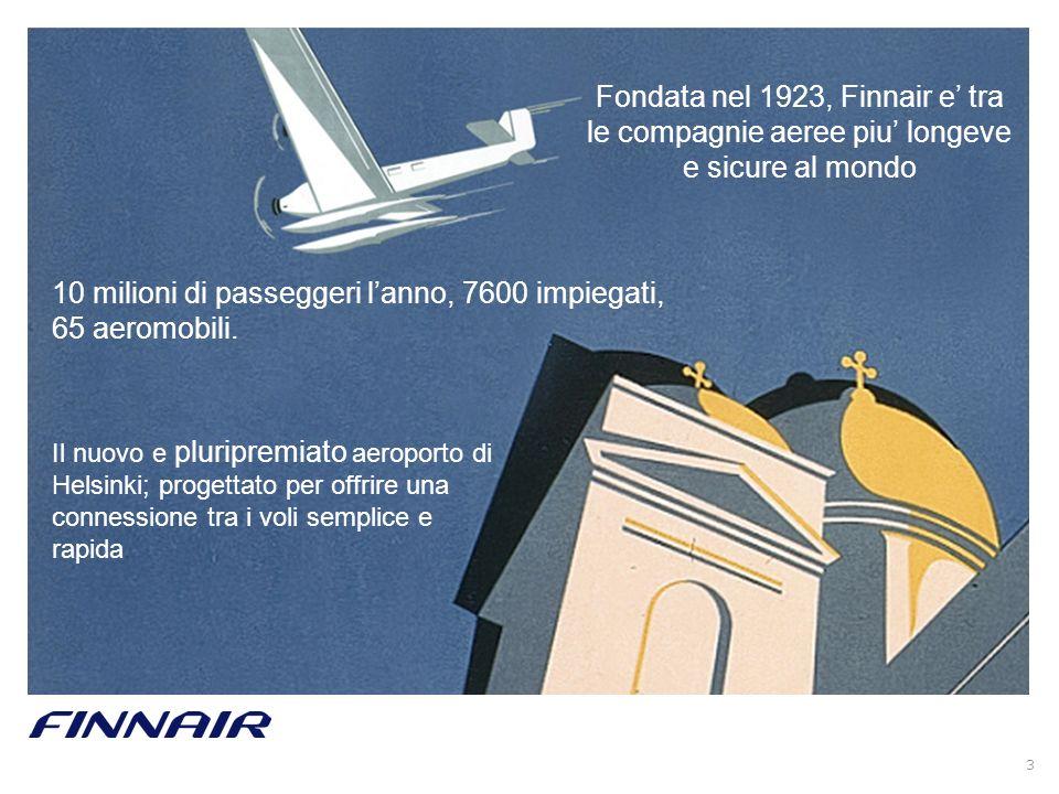 3 Fondata nel 1923, Finnair e tra le compagnie aeree piu longeve e sicure al mondo 10 milioni di passeggeri lanno, 7600 impiegati, 65 aeromobili. Il n