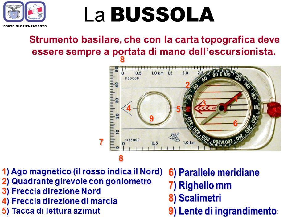 7 CORSO DI ORIENTAMENTO Orientarsi con Orologio Si punta la metà dellora corrente in direzione del sole, il 12 del quadrante corrisponderà al Nord: (1