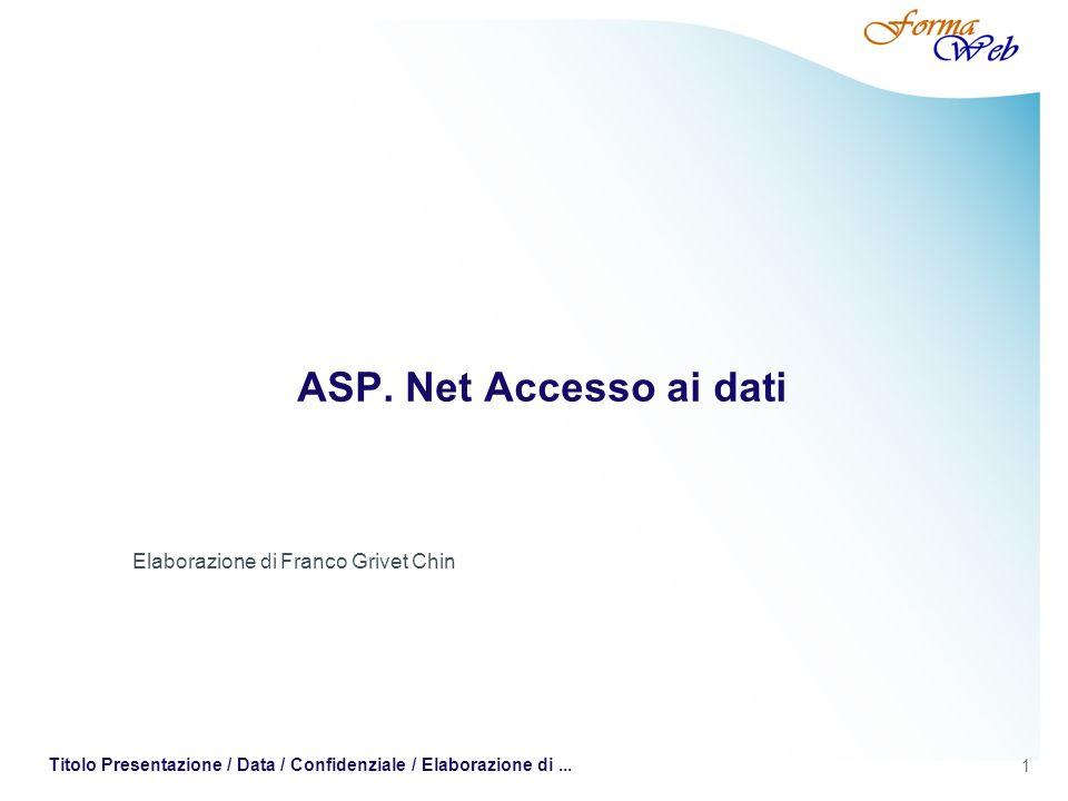 1 Titolo Presentazione / Data / Confidenziale / Elaborazione di... ASP. Net Accesso ai dati Elaborazione di Franco Grivet Chin