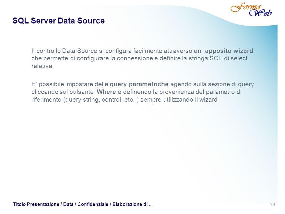13 Titolo Presentazione / Data / Confidenziale / Elaborazione di... SQL Server Data Source Il controllo Data Source si configura facilmente attraverso