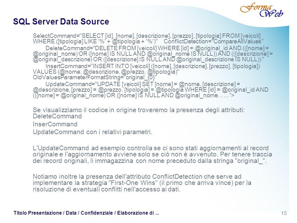 15 Titolo Presentazione / Data / Confidenziale / Elaborazione di... SQL Server Data Source SelectCommand=