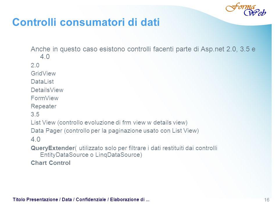 16 Titolo Presentazione / Data / Confidenziale / Elaborazione di... Controlli consumatori di dati Anche in questo caso esistono controlli facenti part