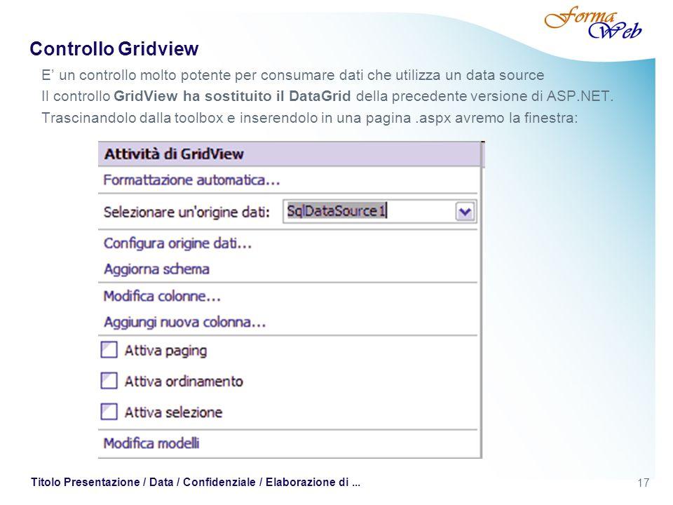 17 Titolo Presentazione / Data / Confidenziale / Elaborazione di... Controllo Gridview E un controllo molto potente per consumare dati che utilizza un