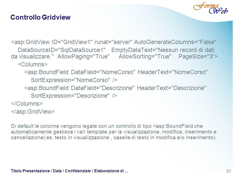 20 Titolo Presentazione / Data / Confidenziale / Elaborazione di... Controllo Gridview <asp:GridView ID=