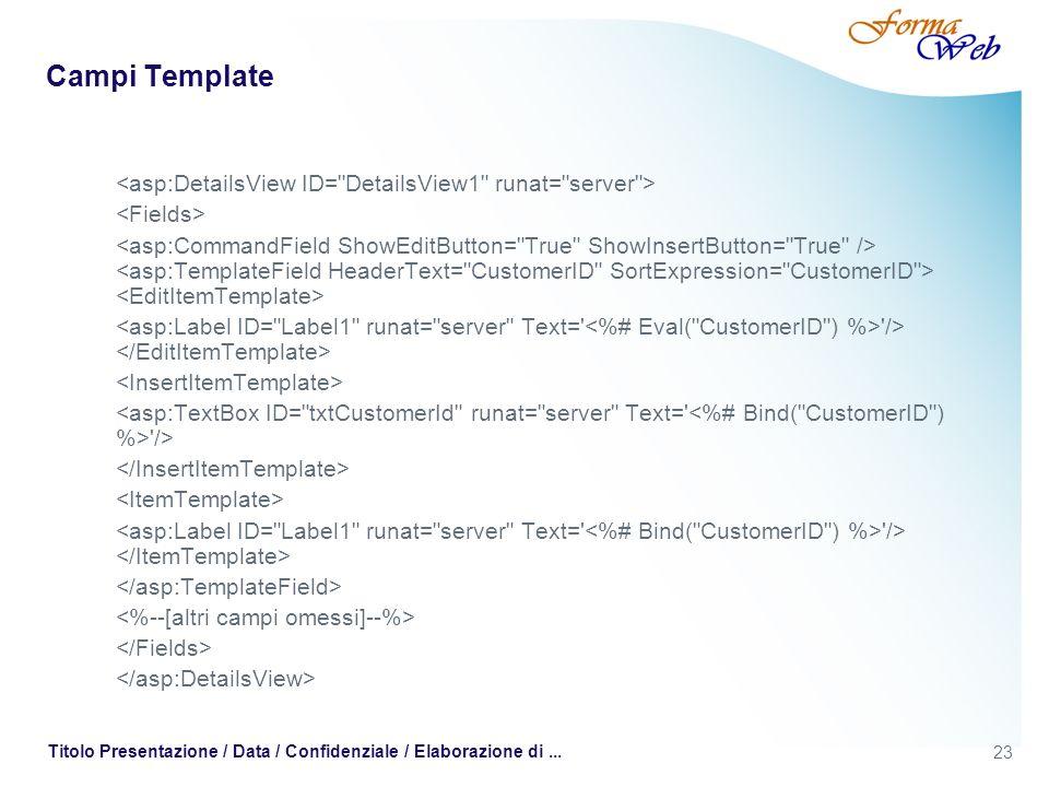 23 Titolo Presentazione / Data / Confidenziale / Elaborazione di... Campi Template '/> '/> '/>