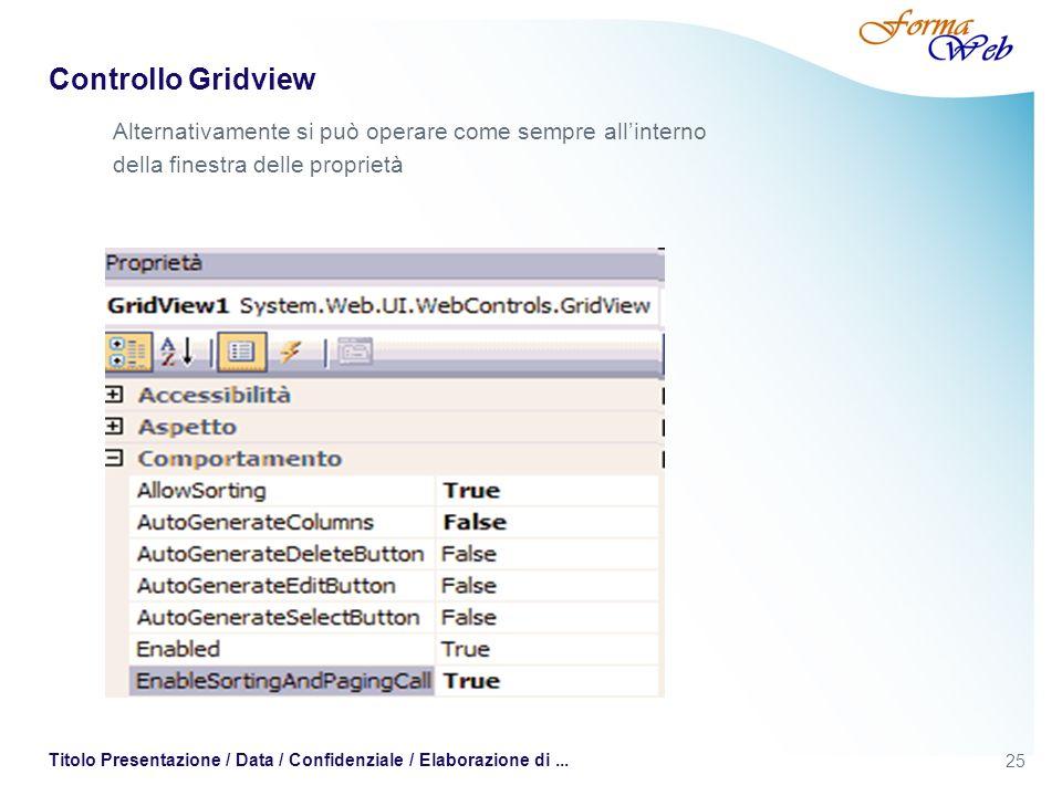 25 Titolo Presentazione / Data / Confidenziale / Elaborazione di... Controllo Gridview Alternativamente si può operare come sempre allinterno della fi