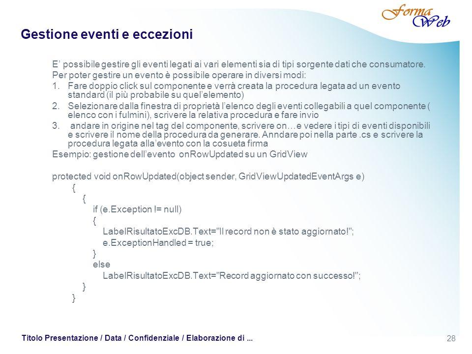 28 Titolo Presentazione / Data / Confidenziale / Elaborazione di... Gestione eventi e eccezioni E possibile gestire gli eventi legati ai vari elementi
