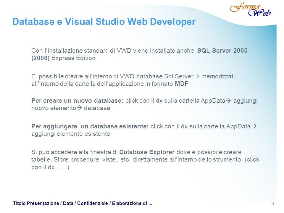 9 Titolo Presentazione / Data / Confidenziale / Elaborazione di... Database e Visual Studio Web Developer Con linstallazione standard di VWD viene ins