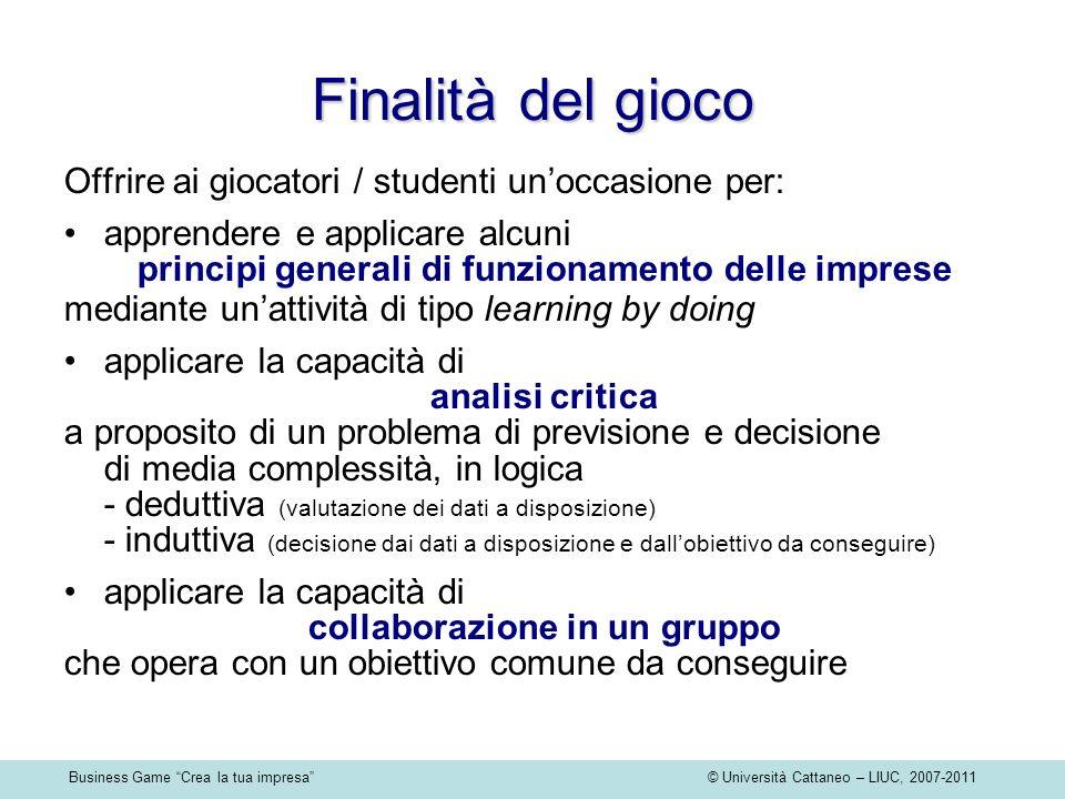Business Game Crea la tua impresa © Università Cattaneo – LIUC, 2007-2011 Finalità del gioco Offrire ai giocatori / studenti unoccasione per: apprende