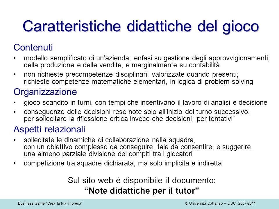 Business Game Crea la tua impresa © Università Cattaneo – LIUC, 2007-2011 Caratteristiche didattiche del gioco Contenuti modello semplificato di unazi