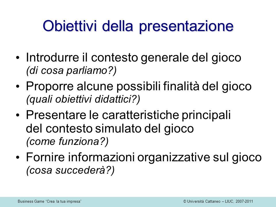 Business Game Crea la tua impresa © Università Cattaneo – LIUC, 2007-2011 Obiettivi della presentazione Introdurre il contesto generale del gioco (di