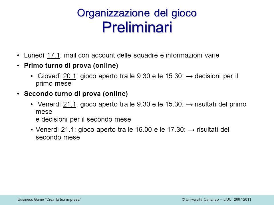 Business Game Crea la tua impresa © Università Cattaneo – LIUC, 2007-2011 Organizzazione del gioco Preliminari Lunedì 17.1: mail con account delle squ