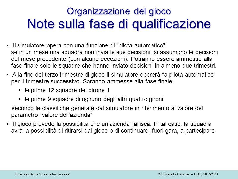 Business Game Crea la tua impresa © Università Cattaneo – LIUC, 2007-2011 Organizzazione del gioco Note sulla fase di qualificazione Il simulatore ope