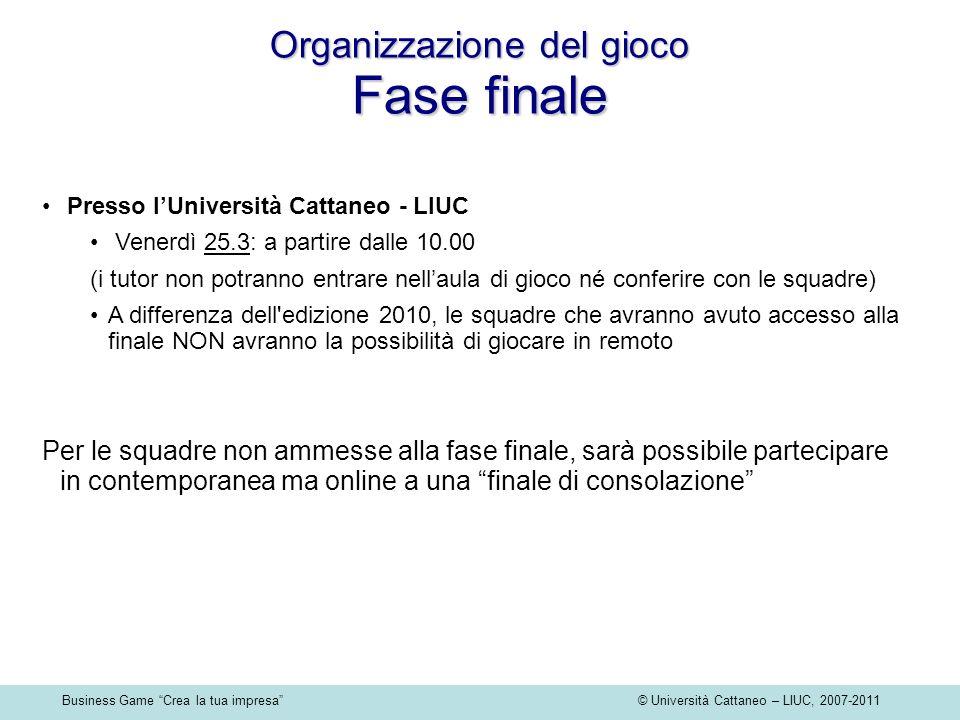 Business Game Crea la tua impresa © Università Cattaneo – LIUC, 2007-2011 Presso lUniversità Cattaneo - LIUC Venerdì 25.3: a partire dalle 10.00 (i tu
