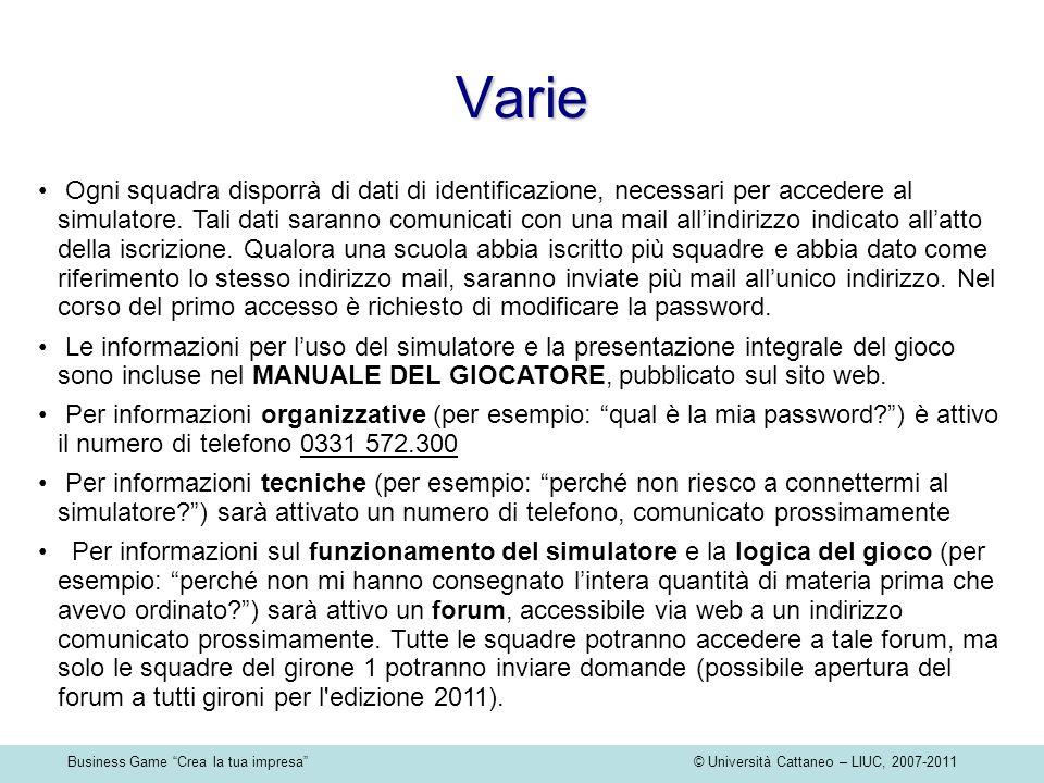 Business Game Crea la tua impresa © Università Cattaneo – LIUC, 2007-2011 Varie Ogni squadra disporrà di dati di identificazione, necessari per accede
