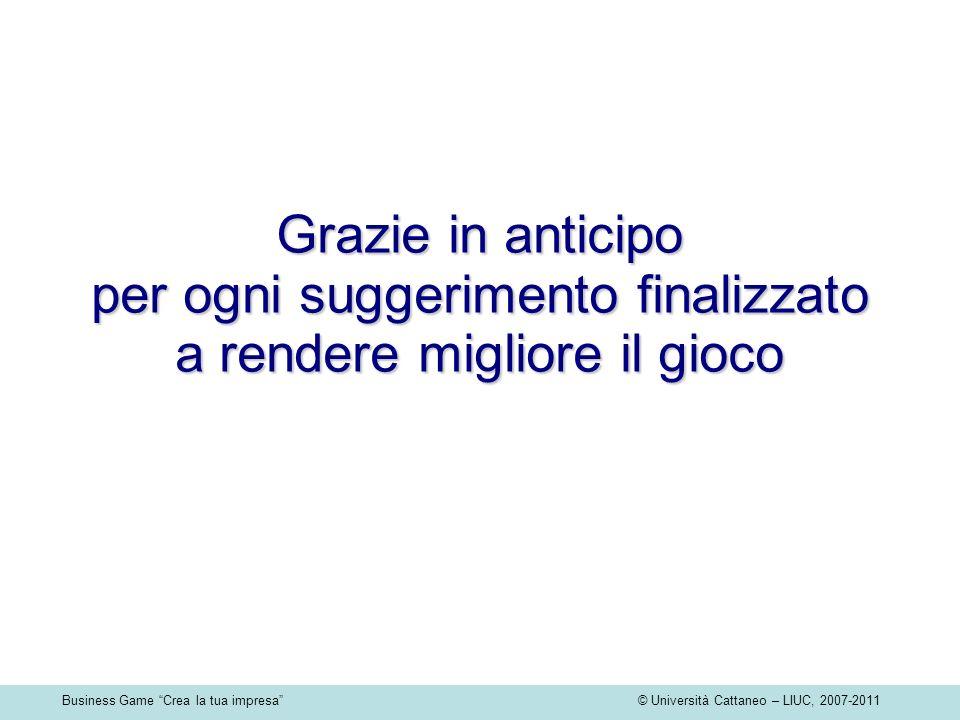 Business Game Crea la tua impresa © Università Cattaneo – LIUC, 2007-2011 Grazie in anticipo per ogni suggerimento finalizzato a rendere migliore il g