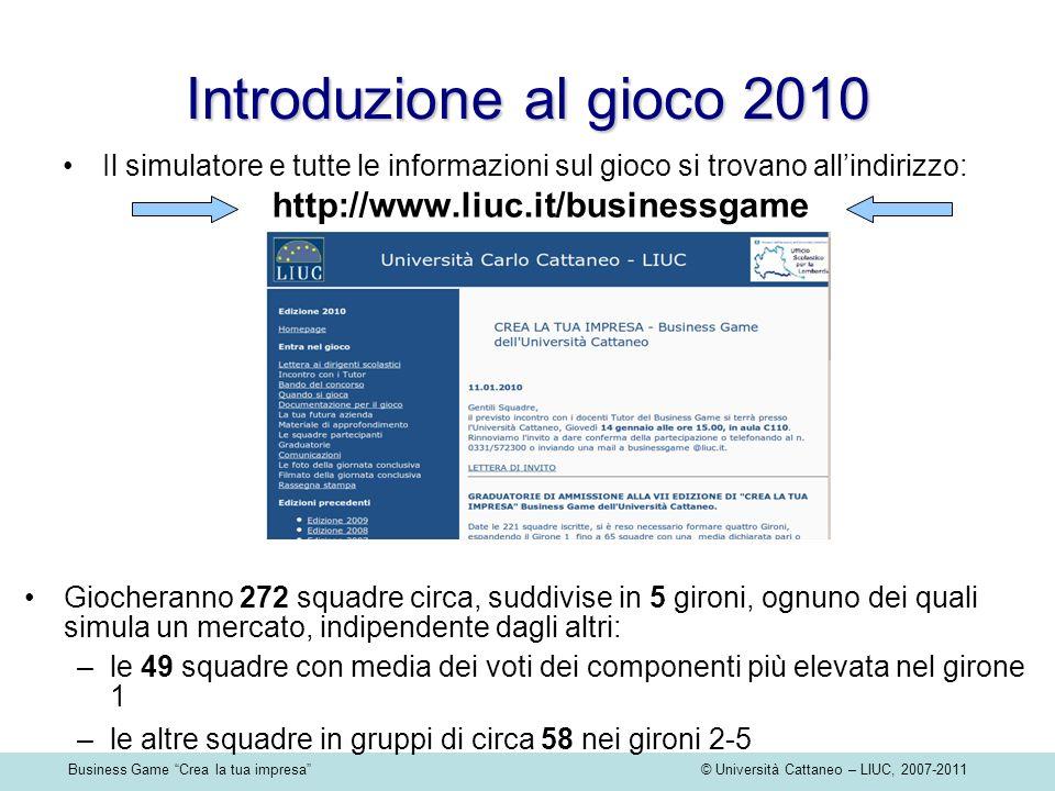 Business Game Crea la tua impresa © Università Cattaneo – LIUC, 2007-2011 Introduzione al gioco 2010 Il simulatore e tutte le informazioni sul gioco s