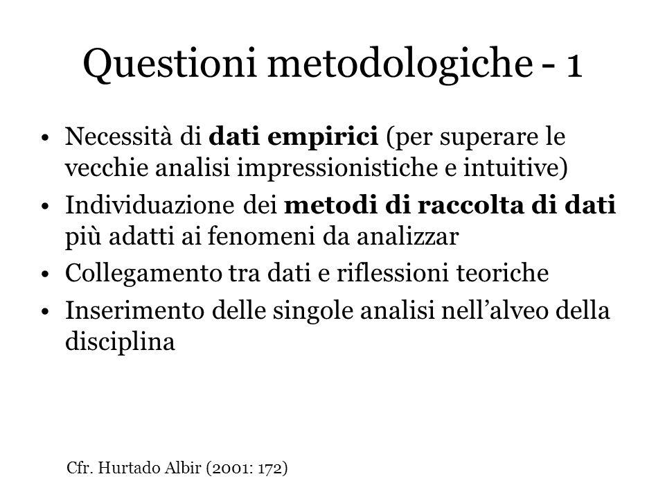 Questioni metodologiche - 1 Necessità di dati empirici (per superare le vecchie analisi impressionistiche e intuitive) Individuazione dei metodi di ra
