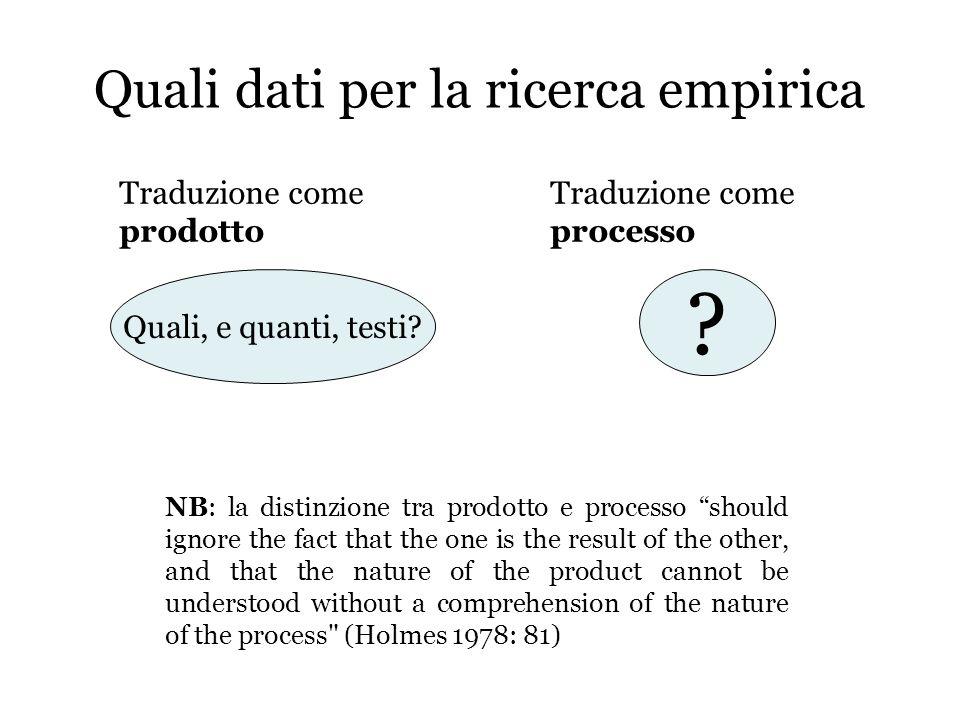 Quali dati per la ricerca empirica Traduzione come processo Traduzione come prodotto ? Quali, e quanti, testi? NB: la distinzione tra prodotto e proce