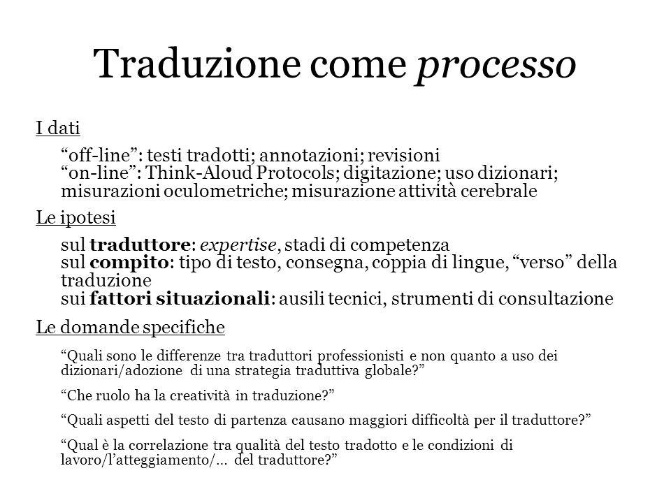 Traduzione come processo I dati off-line: testi tradotti; annotazioni; revisioni on-line: Think-Aloud Protocols; digitazione; uso dizionari; misurazio