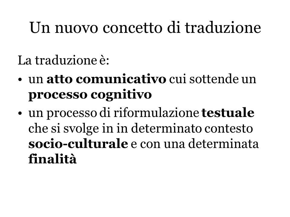 Un nuovo concetto di traduzione La traduzione è: un atto comunicativo cui sottende un processo cognitivo un processo di riformulazione testuale che si