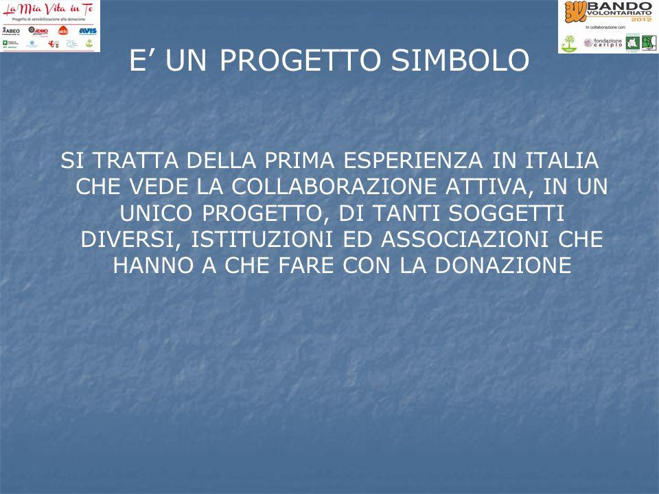 E UN PROGETTO SIMBOLO SI TRATTA DELLA PRIMA ESPERIENZA IN ITALIA CHE VEDE LA COLLABORAZIONE ATTIVA, IN UN UNICO PROGETTO, DI TANTI SOGGETTI DIVERSI, I