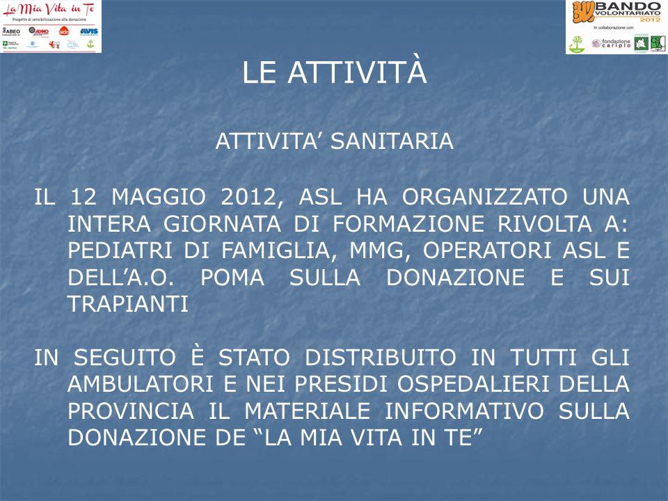 ATTIVITA SANITARIA IL 12 MAGGIO 2012, ASL HA ORGANIZZATO UNA INTERA GIORNATA DI FORMAZIONE RIVOLTA A: PEDIATRI DI FAMIGLIA, MMG, OPERATORI ASL E DELLA