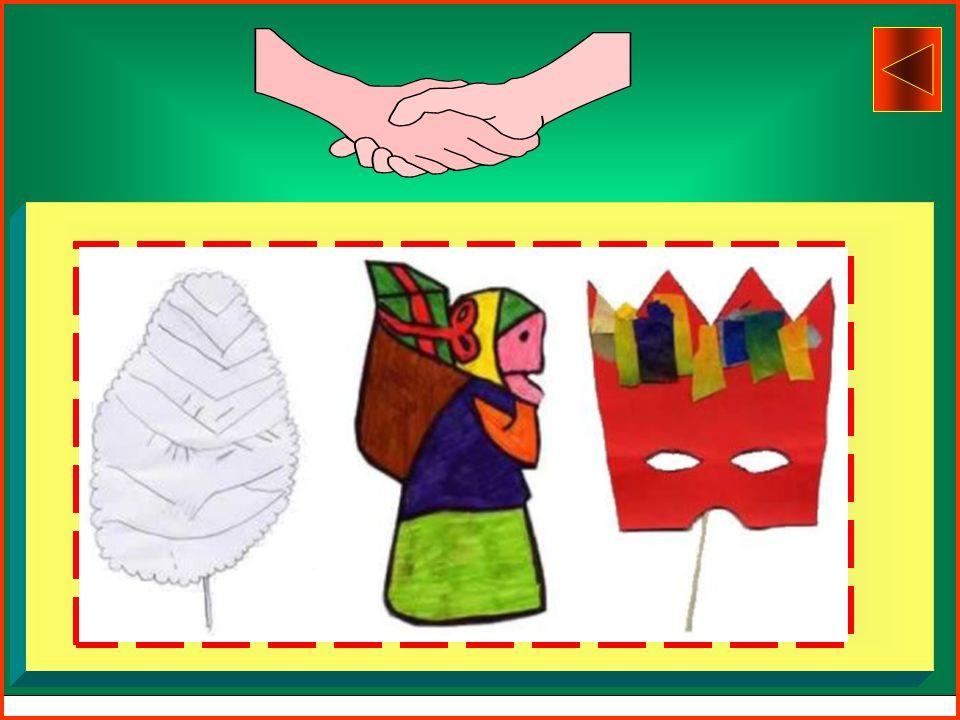 PRODUZIONE DI SAGOME Descrizione Per la produzione di sagome i bambini tracciano su cartoncino il contorno di foglie, di decorazioni natalizie, di mas