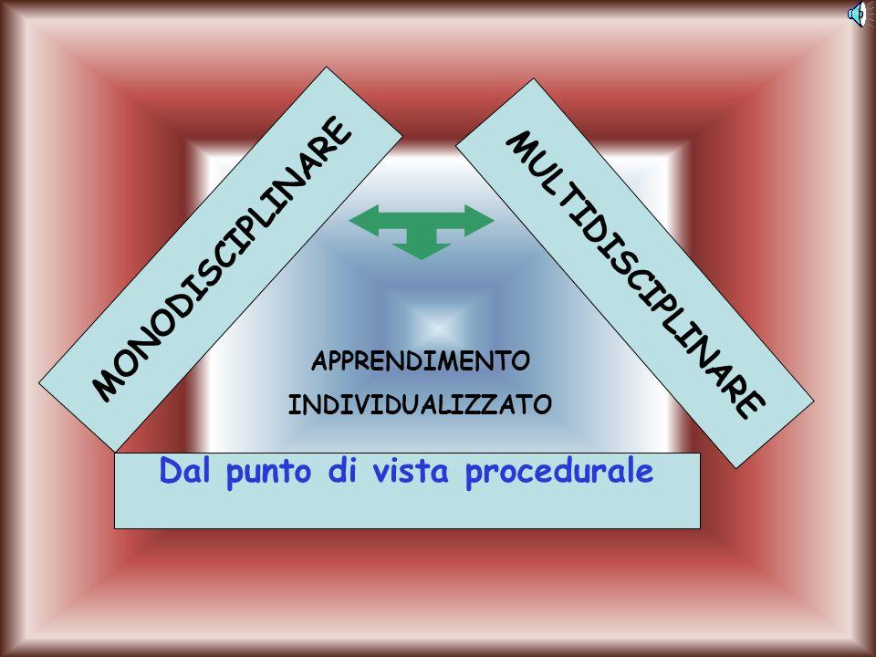MONODISCIPLINARE MULTIDISCIPLINARE Dal punto di vista procedurale APPRENDIMENTO INDIVIDUALIZZATO