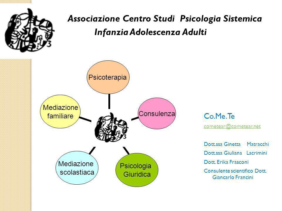 Associazione Centro Studi Psicologia Sistemica Infanzia Adolescenza Adulti Co.Me.Te cometear@cometear.net Dott.ssa Ginetta Matracchi Dott.ssa Giuliana Lacrimini Dott.