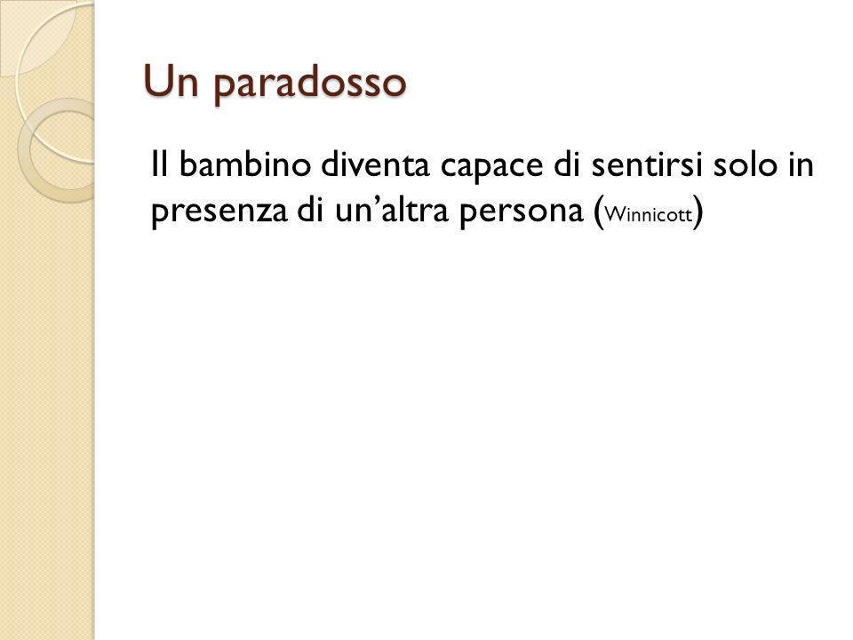 Un paradosso Il bambino diventa capace di sentirsi solo in presenza di unaltra persona ( Winnicott )
