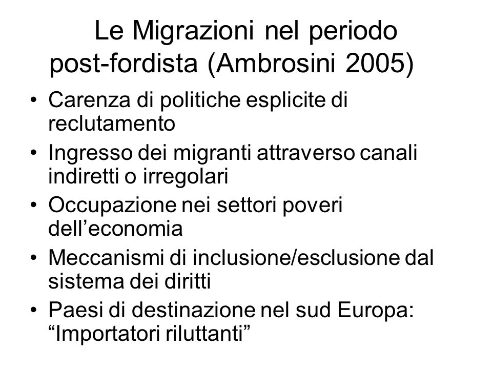 Legge 40 del 98 Testo unico sullimmigrazione Un modello di integrazione ragionevole (Zincone 2000) I diritti dei migranti anche quelli fondamentali come quello del ricongiungimento familiare non sono assoluti ma assumono un caratterere « discrezionale », in quanto dipendono da norme e regole stabilite localmente (localismo dei diritti).