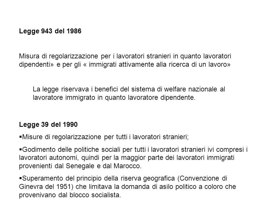 Anni 80 fine anni 90, effetti delle politiche di sanatoria del 1986-1990-1995 1.Soddisfare il bisogno di manodopera dei distretti industriali nel centro-nord Italia e delle piccole industrie manifatturiere del nord-est; 2.Risposte a situazioni di urgenza sociale: rassicurare gli italiani di fronte ad una presenza sempre maggiore sul territorio di cittadini stranieri in situazioni di irregolarità; sedare momenti di conflittualità sociale nelle zone agricole del sud Italia; 3.Processi di etnicizzazione del mercato del lavoro: alto livello di specializzazione dei lavori effettuati dai migranti in relazione al loro paese di origine, del loro sesso e della religione di appartenenza (senegalese: venditore ambulante; tunisino: pescatore; filippine-donne dellest: colf e badanti).