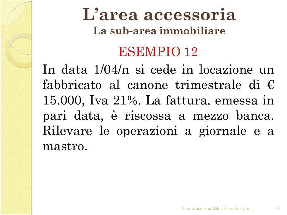 Economia aziendale - Esercitazioni16 Larea accessoria La sub-area immobiliare ESEMPIO 12 In data 1/04/n si cede in locazione un fabbricato al canone t