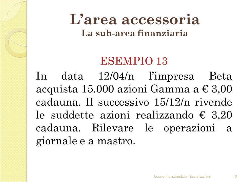 Economia aziendale - Esercitazioni19 Larea accessoria La sub-area finanziaria ESEMPIO 13 In data 12/04/n limpresa Beta acquista 15.000 azioni Gamma a