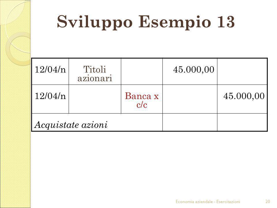 Economia aziendale - Esercitazioni20 Sviluppo Esempio 13 12/04/nTitoli azionari 45.000,00 12/04/nBanca x c/c 45.000,00 Acquistate azioni