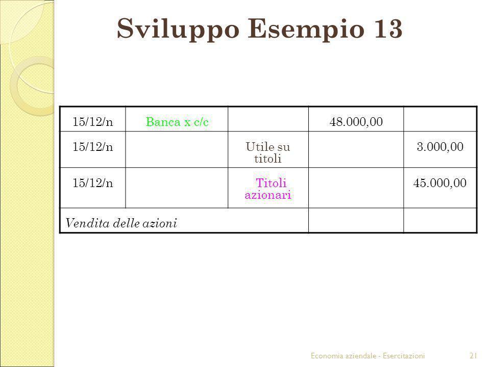 Economia aziendale - Esercitazioni21 Sviluppo Esempio 13 15/12/nBanca x c/c48.000,00 15/12/nUtile su titoli 3.000,00 15/12/n Titoli azionari 45.000,00