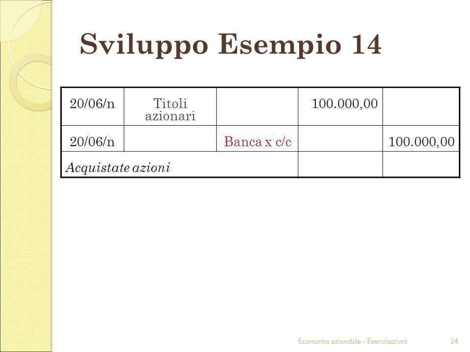 Economia aziendale - Esercitazioni24 Sviluppo Esempio 14 20/06/nTitoli azionari 100.000,00 20/06/nBanca x c/c100.000,00 Acquistate azioni