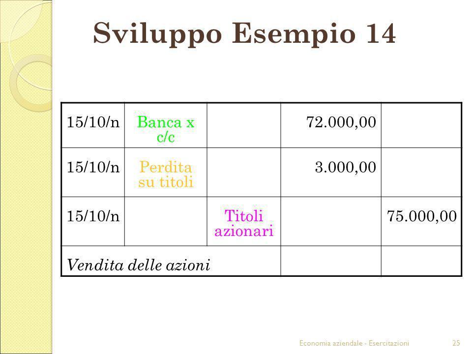 Economia aziendale - Esercitazioni25 Sviluppo Esempio 14 15/10/nBanca x c/c 72.000,00 15/10/nPerdita su titoli 3.000,00 15/10/nTitoli azionari 75.000,