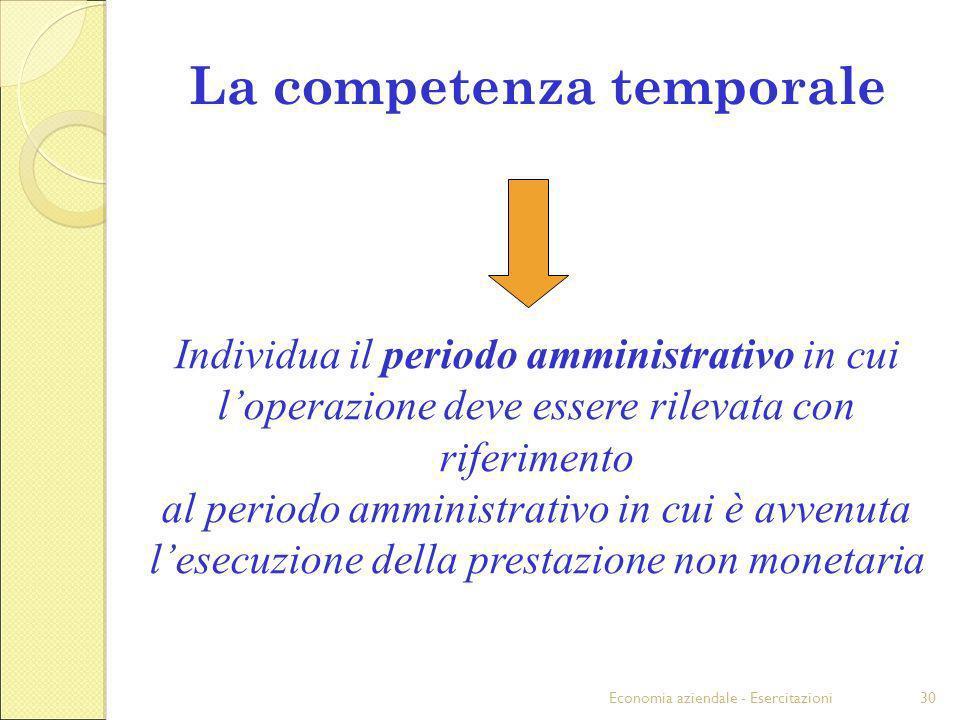 Economia aziendale - Esercitazioni30 La competenza temporale Individua il periodo amministrativo in cui loperazione deve essere rilevata con riferimen