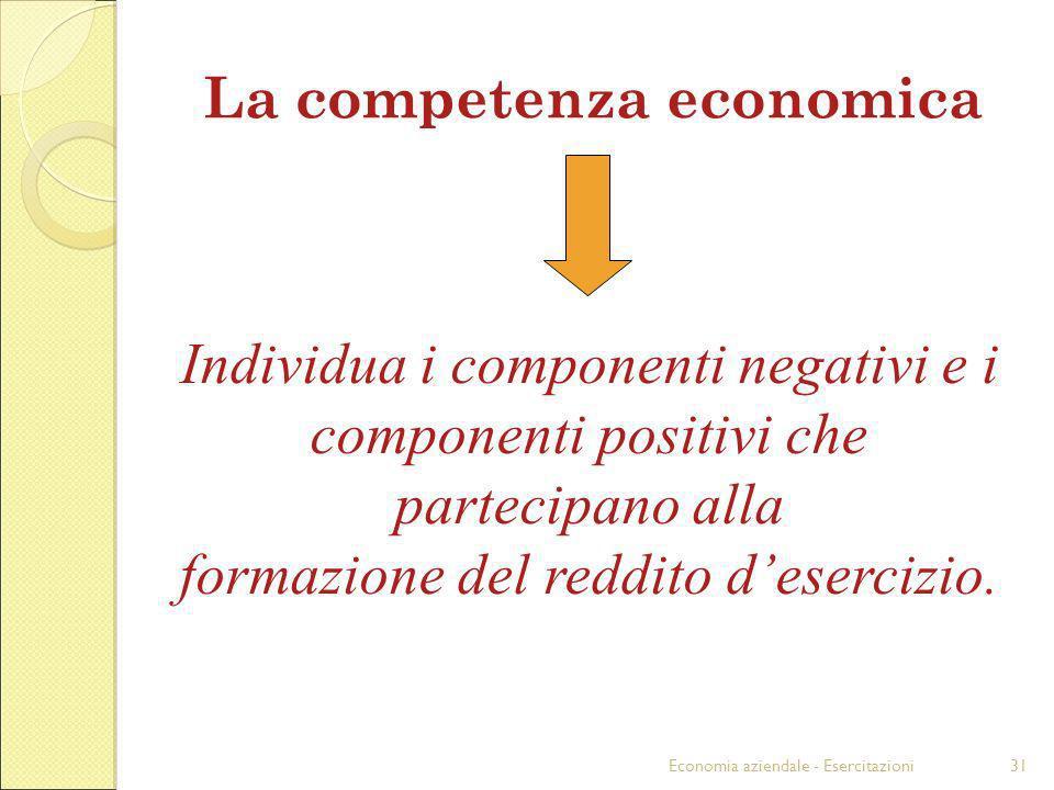 Economia aziendale - Esercitazioni31 La competenza economica Individua i componenti negativi e i componenti positivi che partecipano alla formazione d