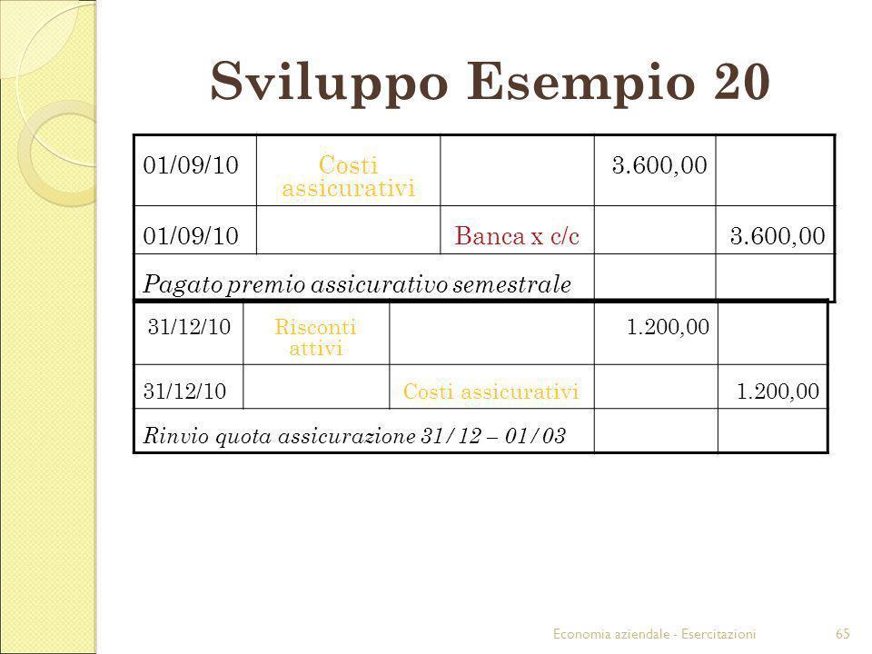 Economia aziendale - Esercitazioni65 Sviluppo Esempio 20 01/09/10Costi assicurativi 3.600,00 01/09/10Banca x c/c3.600,00 Pagato premio assicurativo se