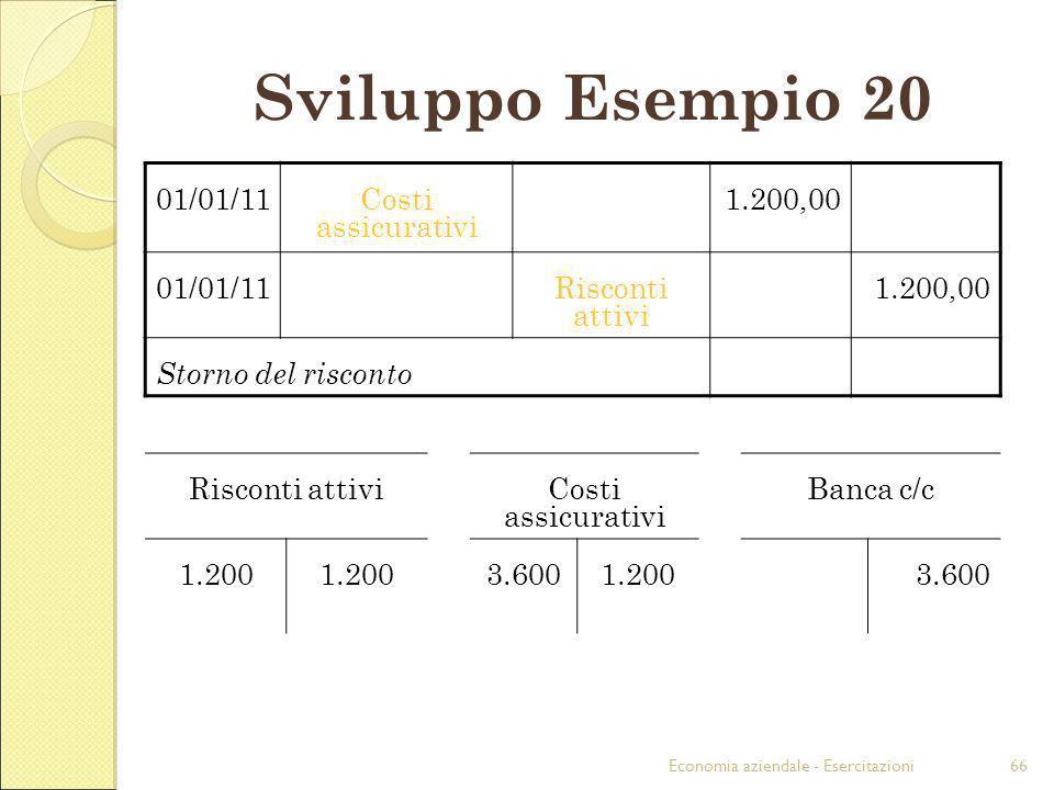 Economia aziendale - Esercitazioni66 Sviluppo Esempio 20 01/01/11Costi assicurativi 1.200,00 01/01/11Risconti attivi 1.200,00 Storno del risconto Risc