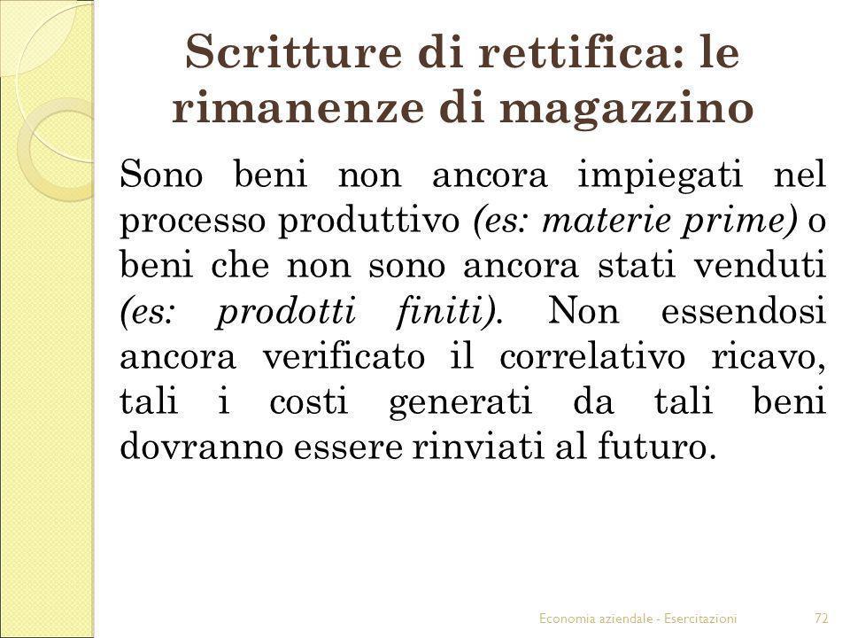 Economia aziendale - Esercitazioni72 Scritture di rettifica: le rimanenze di magazzino Sono beni non ancora impiegati nel processo produttivo (es: mat