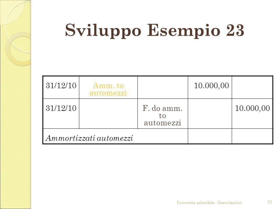 Economia aziendale - Esercitazioni77 Sviluppo Esempio 23 31/12/10Amm. to automezzi 10.000,00 31/12/10F. do amm. to automezzi 10.000,00 Ammortizzati au