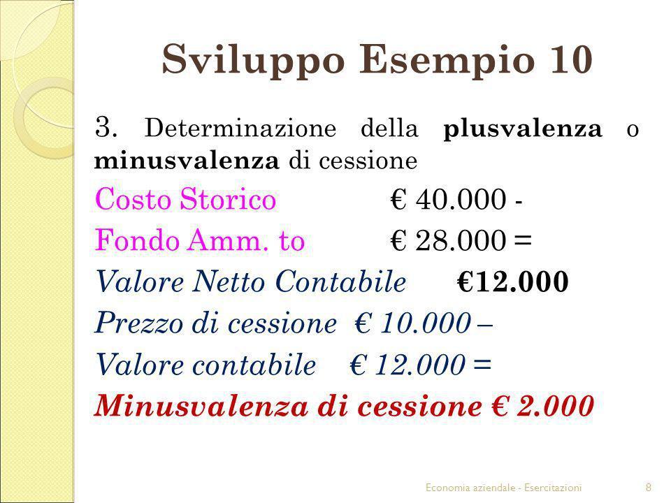 Economia aziendale - Esercitazioni8 Sviluppo Esempio 10 3. Determinazione della plusvalenza o minusvalenza di cessione Costo Storico 40.000 - Fondo Am