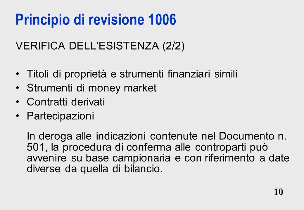 10 Principio di revisione 1006 VERIFICA DELLESISTENZA (2/2) Titoli di proprietà e strumenti finanziari simili Strumenti di money market Contratti derivati Partecipazioni In deroga alle indicazioni contenute nel Documento n.