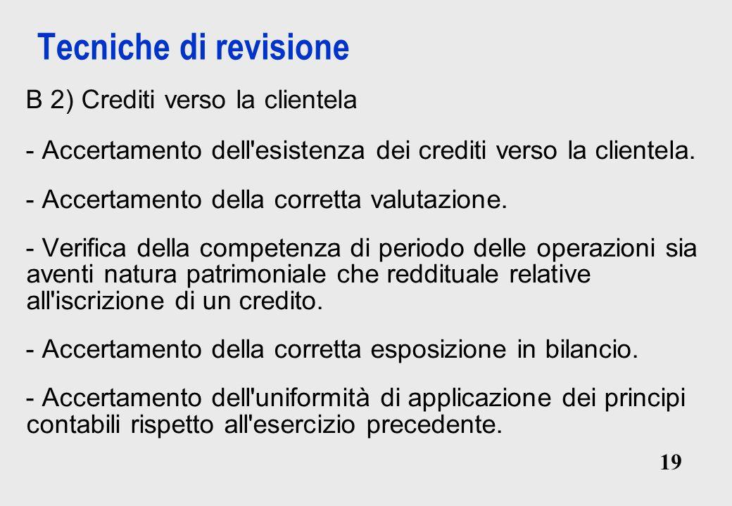 19 Tecniche di revisione B 2) Crediti verso la clientela - Accertamento dell esistenza dei crediti verso la clientela.
