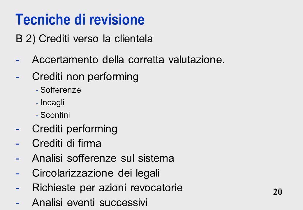 20 Tecniche di revisione B 2) Crediti verso la clientela -Accertamento della corretta valutazione.